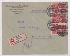 Deutsches Reich R-Brief Mit MEF Der Commerzbank Sebnitz Nach Treuen Portorichtig AKs - Covers & Documents