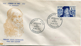 FRANCE ENVELOPPE 1er JOUR DU N°929 LEONARD DE VINCI AVEC OBLITERATION PREMIER JOUR 9 JUIL 1952 AMBOISE - 1950-1959