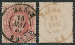 """émission 1869 - N°34 Obl Double Cercle """"Menin"""" / Collection Spécialisée - 1869-1883 Leopold II"""