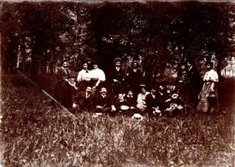 Grand Tirage Photo Albuminé Souple Original De Femmes élégantes En Famille & Canotiers Au Bois Vers 1880/90 - Anciennes (Av. 1900)