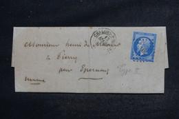 FRANCE - Lettre De Châlons/Marne Pour Epernay En 1864, Affranchissement Napoléon 20c Type II, PC 704 - L 103439 - 1849-1876: Période Classique