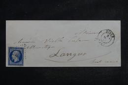 FRANCE - Enveloppe De Dijon Pour Langres En 1855, Affranchissement Napoléon 20c , PC 1102 - L 103440 - 1849-1876: Période Classique