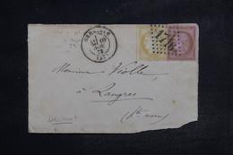 FRANCE - Type Cérès 10c+15c Sur Devant De Lettre De Grenoble Pour Langres En 1873 , GC 1716 - L 103441 - 1849-1876: Période Classique