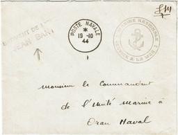 CTN70 - LETTRE EN FM A BORD DU BATIMENT DE LIGNE JEAN BART 19/10/1944 - Scheepspost