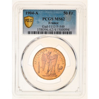 Monnaie, France, Génie, 50 Francs, 1904, Paris, PCGS, MS62, SUP+, Or - M. 50 Francs