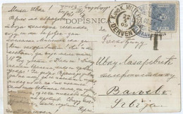 1909 Serbisches Nachporto Auf AK Von Bosnien / Dervent - Serbie