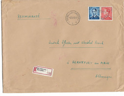 REF4720/ TP 848 B Poortman-924 Baudouin Lunettes S/L. Recommandée BXL 06/12/55 > Frankfurt Am Main C. D'arrivée - Lettres & Documents