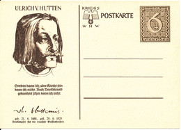 Germany Reich WHW Kriegs Postal Stationery Postkarte In Mint Condition Ulrich V. Hutten - Lettres & Documents