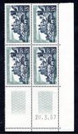 YT-N°: 1040 - Uzerche (Limousin), Coin Daté Du 20.03.1957, 7e Tirage, Cylindre A, NSC/**/MNH - 1950-1959