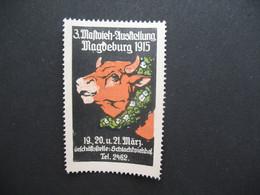 Vignette Label Stamp vignetta Filatelico Aufkleber Allemagne Mafvieh Ausstellung Magueburg 1915 - Autres