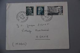 ENVELOPPE DE CAP FERRET GIRONDE VERS CLUB MED AGADIR MAROC . AFFRANCHISSEMENT 1970  MAURICE DE BROGLIE - 1961-....