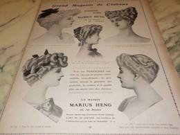 ANCIENNE PUBLICITE GRAND MAGASIN DE CHEVEUX DE MARIUS HENG 1907 - Accessories