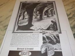 ANCIENNE PUBLICITE GARANTIE ORGINE FROMAGE SOCIETE ROQUEFORT 1937 - Posters