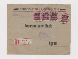 GERMANY  1923 BERLIN Nice Registered  Cover To Yugoslavia - Covers & Documents
