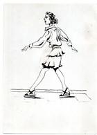 Photo Originale De Dessin Année 1940 Caricature De Femme Marchant  Dans La Rue Comme Sur Des Oeufs - Otros