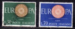 ITALIA REPUBBLICA ITALY REPUBLIC 1960 EUROPA CEPT SERIE COMPLETA COMPLETE SET USATA USED OBLITERE' - 1946-60: Afgestempeld