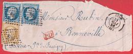 N°14 X2 N°13 PC1818 LYON RHONE POUR BONNEVILLE HAUTE SAVOIE ETATS SARDE DEVANT DE LETTRE FRONT COVER - 1849-1876: Classic Period