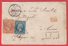 N°22 23 GC 3273 ST LO MANCHE 1864 POUR TUNIS TUNISIE - 1849-1876: Classic Period