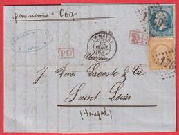 N°21 22 GC 1769 LE HAVRE SEINE INFERIEURE POUR ST LOUIS SENEGAL PAR NAVIRE LE COQ AVEC CACHET ARRIVE EN BLEU - 1849-1876: Classic Period
