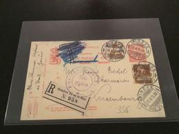 Luxembourg Carte 1915 Genève Recommandée - Postwaardestukken
