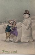 Illustrée Viennoise Granitée Et Colorisée : Enfants Au Bonhomme De Neige - Nieuwjaar