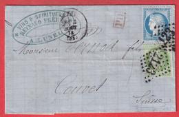 N°53 60 GC 2123 LUNEL HERAULT POUR COUVET SUISSE 1874 - 1849-1876: Classic Period