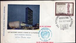 Argentina - 1959 - FDC - Matasello Especial - Las Naciones Unidas A Traves De La Filatelia - A1RR2 - Gebruikt
