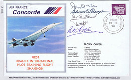 Ireland Airmail 1978 Concorde Training Flight Shannon AERFORT NA SIONAINNE 18 X 78 Signed Pilots, Pinholes - Airmail