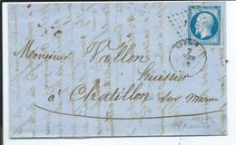 N° YT 14 A  Sur Lettre D' Epernay Pour Chatillon Sur Marne  1868 - 1849-1876: Classic Period