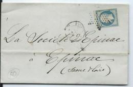N° YT 14 A  Sur Lettre De Paris  Cachet Etoile Pour Epinac Saône Et Loire 1855 - 1849-1876: Classic Period