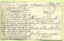 """Kaart COUTANCES Stempel PMB Op 7/2/16 Met Stempel POSTES MILITAIRES BELGES (violet) Naar """"Refugie Belge"""".... (3576) - Esercito Belga"""