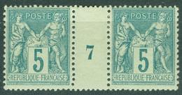 France  Yvert  75 En Paire Millésimé  1897  *   TB - Millesimes