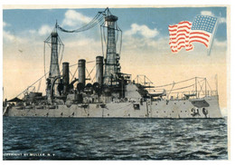 (WW 12) Very Old - USS Rhodes Island Warship - Salute