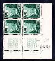 MAROC YT-N°: 333 - Vasque Aux Pigeons, Coin Daté Du 01.03.1955, 3e Tirage - 2e Partie, NSC/**/MNH - Ungebraucht