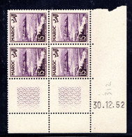 MAROC YT-N°: 312 - Pointe De Oudayas, Coin Daté Du 30.12.1952, 3e Tirage - 1er Partie, NSC/**/MNH - Ungebraucht