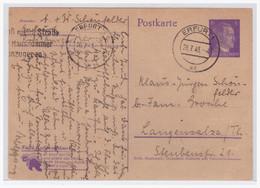 Dt- Reich (004877) Ganzsache P312/ 02 Kohlenklau Gelaufen Erfurt Am 26.71943 - Enteros Postales