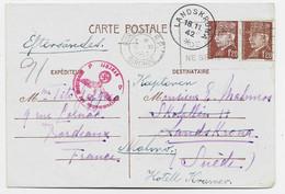 PETAIN ENTIER 1FR20 CP + 1FR20 BORDEAUX RP 8.XI.1942 POUR SUEDE CENSURE NAZI TARIF 2FR40 - 1941-42 Pétain