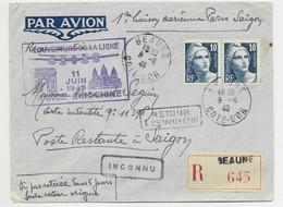 GANDON 10FR GRAVE PAIRE LETTRE REC AVION BEAUNE 8.6.1946 POUR SAIGON REOUVERTURE DE LA LIGNE - 1945-54 Marianne De Gandon