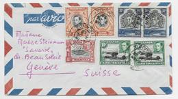 UGANDA 15C+10CX2+20CX2+30CX2 LETTRE COVER AVION KAMPALA 2 DE 1950 TO HELVETIA SUISSE - Kenya, Uganda & Tanganyika