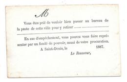 REUNION Avis D'arrivée D'un Pli Recommandé Au Verso D'une Carte Précurseur Sinais N° COL 32 (cote 60€ En 2007) - Covers & Documents