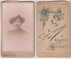 (Photo Carte De Visite) 180, Portrait Militaire, 6e BCA Bataillon De Chasseurs Alpins Par Paul Faraut à Nice - War, Military