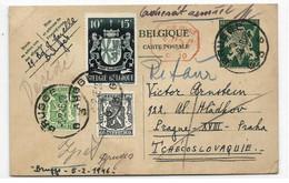 E.P. Carte 50c. LION + Tp N°527-712-716 Obl. Sc BRUGGE 3 Du 3-2-1946 Vers Prague + Retour Terug. TB - W1203 - Postcards [1934-51]
