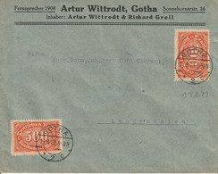Allemagne Lettre Inflation Gotha 1923 - Covers & Documents