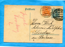 Marcophilie-post Card Postall Stationnery-entier Postal-cad 1921-30pf Germania + Stamps 40pf - Covers & Documents