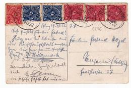 Postkarte 1922 Deutchland Bahnpost Berlin Hildesheim Wein Restaurant Traube - Covers & Documents