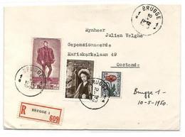 N°811-817-819 (Charles-Quint) - Affr. G. David + Sénat IV à 5Fr.95 Obl. Sc BRUGGE 1sur Lettre Recommandée Du 10-V-195 - Covers & Documents
