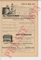Publicité 1893 Orgue Harmoniphone Rodolphe Fils Et Debain 15 Rue Chaligny Paris Usine à Nogent-sur-Seine 249/27 - Unclassified