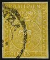 PARMA 6a O, 1853, 5 C. Orange, Vollrandig, Pracht, Mi. 750.- - Parma