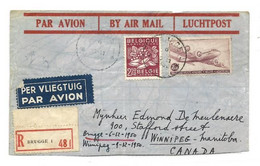N°769 (Wijn VIN) + PA 9 Obl. Sc BRUGGE 1sur Lettre Recommandée Et Par Avion (Etiq.) Du 6-XII-1950 Vers Winnipeg (Canad - Covers & Documents