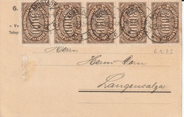 Allemagne Carte Inflation Arnstadt 1923 - Covers & Documents